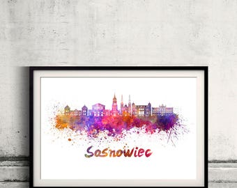 Sosnowiec skyline in watercolor over white background with name of city - Poster Wall art Illustration Print - SKU 2804