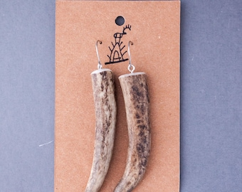 Reindeer antler earrings | antler tip | antler tip earrings | antler jewelry | simple earrings | rustic jewellery | primitive earrings