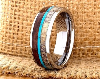 Tungsten Ring Tungsten Wedding Ring Band Mens Women's Wedding Band Red Wood Deer Antler Turquoise Anniversary Dome 8mm Custom FREE SHIPPING