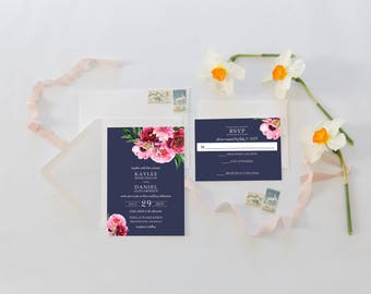 Wedding Invitation Suite, Wedding Invitations, Navy and Blush, Pink Floral Wedding Invitation, Navy, Blush Pink Flowers 068