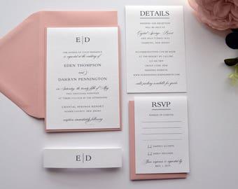 Blush Wedding Invitations, Wedding Invitations, Blush Pink Wedding Invitations, Stacked Wedding, Classic Wedding Invitations- S028