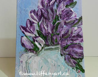 Tulip painting, Original flower painting, floral painting, impasto floral painting,abstract painting, small painting, mini canvas,canvas art