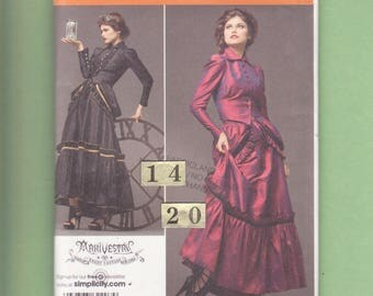 Steampunk Victorian Gown Dress Costume Sewing Pattern/ Simplicity 2207 Womens High Button Top, Bustled, Ruffled Skirt UnCut Size 14 16 18 20