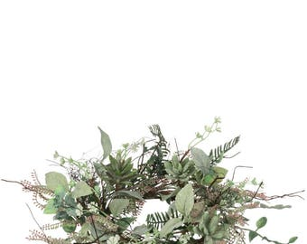 """Succulent Foliage Candle Ring, 6.5"""" Opening"""