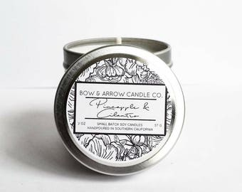 Pineapple Cilantro Natural Soy Candle 2 oz | Eco-Friendly Candle | Soy Candle | Pineapple Candle | Spring Candle | Gift Idea | Fruit Scented
