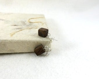 Wooden earrings, small cubes, minimalist squares, fairtrade wood
