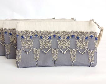 Bridesmaid Gift Set Wedding clutch  Clutch purse Evening purse Braidsmaide wristlet Wedding purse Bride clutch bag