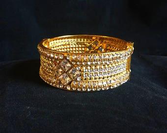 Indian Kundan Bangle Bracelet with Hinge, Kundan Bracelet, Kada, Indian Bangles, CZ Bracelet, Indian CZ Bangle, Indian Jewelry, Kundan, Pave
