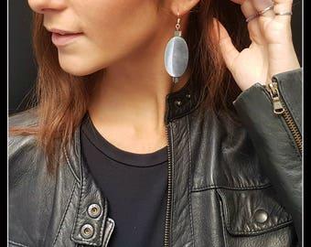 Aluminium Earrings Silver-oval-elegant, modern, light-gift Idea-tenth anniversary-friend of the heart-gift teacher