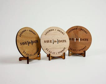 Wooden Wedding / Engagement Save the Date - Modern (x10)