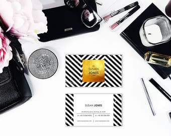 Modern Business Card, Business Card Design, Calling Cards, Business Card, Printable Card, Gold Business Card, Premade Card, Personal Card