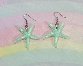 Mermaid Earrings, Pastel Starfish Earrings, Seapunk Earrings, Fairy Kei Earrings, Pop Kei Earrings, Soft Grunge Earrings