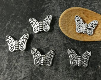 10 pcs, butterfly beads, beads Farfalle spacer, silver - 15 x 11 mm