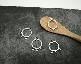 Chandelier round silvered brass connector jewelry, 19 x 14 mm