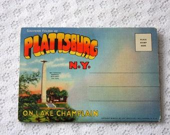 Plattsburg Souvenir Folder, Lake Champlain Souvenir Folder, Plattsburg New York Souviner, Plattsburg Postcard,