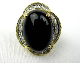 Women's 14K Yellow Gold Onyx Diamond Ring, Vintage Ladies Cocktail Ring Size 7, 1980s
