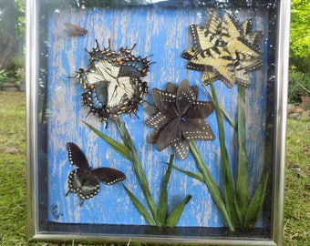 Three Bootiful Flowers and a Butterfly  // Real Framed Butterflies
