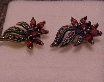 Earrings Sterling Silver with Garnet and Marcasite trim.  Marked 925 on backs.  FREE shipping in the United States