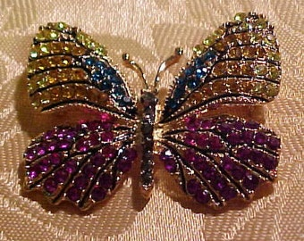 Fancy Butterfly Brooch, Colorful Rhinestone all arround.  FREE shipping in the United States