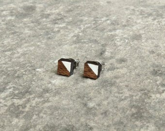 Painted Square Walnut Wood Earrings