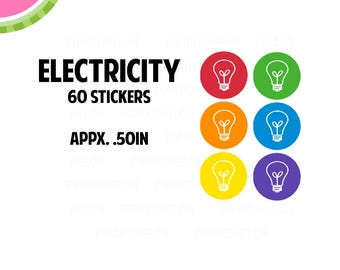 Electricity Utility Icon Stickers   60 Kiss Cut Stickers   IC047