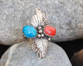Turquoise and coral ring silver, vintage turquoise ring, vintage coral ring, vintage ring, native american rings, vintage rings, coral