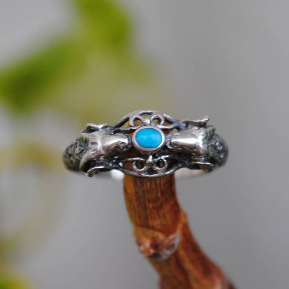 Ram turquoise ring and sterling silver, ram ring, ram rings, vintage ram ring, vintage ram rings, vintage animals rings, vintage animal