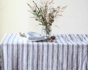 Striped linen table cloth, Nautical tablecloth, Farmhouse, Gray blue stripe, Custom table cloth, Large wedding table overlays, Party linens