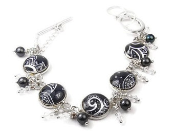Black and White Paisley Bracelet with Pearls and Crystals