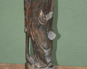 Vintage Hand Carved Wood Chinese Figurine/God of Longevity