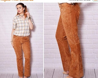 25%OFF Leather Pants Suede Trousers Cowgirl Woman Cowboy Women Country Pants Low Rise Western Leather Brown Vintage Bootcut Suede Tan Pants