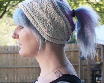 Funfetti Knitted Winter Headband with Lace Style Detail - White Rainbow Confetti Fleck Ear Warmers