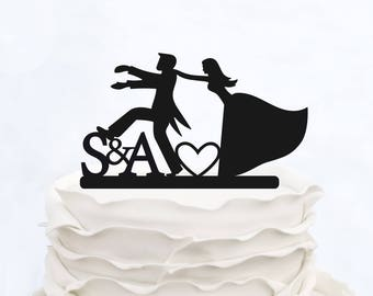 FUNNY CAKE TOPPER_Initials Cake Topper_Wedding Cake topper_Made in italy_Custom cake topper__Personalized cake topper