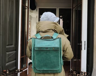 HandMade Green LEATHER BACKPACK  / Handcrafted leather Rucksack with one front pocket on snap bottoms / GREEN leather bag
