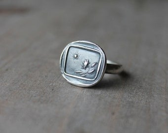 Sunflower and sun wax seal fine silver ring