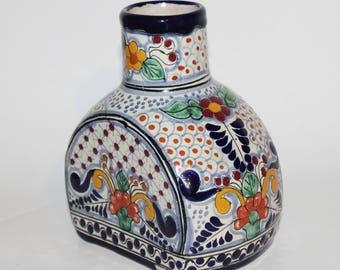 Mexican Clay Pottery Vase in Blues Reds Yellows Intricate Design Unusual Shape Folk Art
