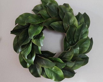 Artificial Magnolia Wreath On Grapevine Base | Rustic Farmhouse | Fixer Upper | Shabby Chic | Wall Decor