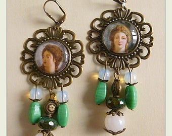 "Retro earrings neoclassical ""faces"" illustrated cabochon 19 th, bronze metal, glass of Bohemia, quartz, opalite"