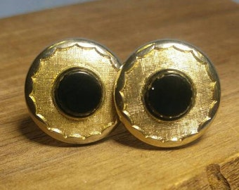 Textured Gold with Onyx Center Cuff Links Cufflinks