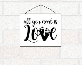 All You Need is Love Printable, LOVE footprints, Gift from Baby, Personalized Nursery Art, Mother's Day Printable gift, New Mom Dad gift