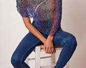 Summer poncho coverup, sparkle shiny bolero, rainbow assymetrical handknit womens wrap, gift for her, boho style clothing, bewoolen ponchos