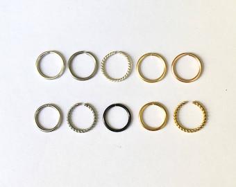 Silver or Gold Nose Rings 18G 20G 22G 24G 6mm 7mm 8mm 9mm 10mm Silver Filled Nose Hoop Ring