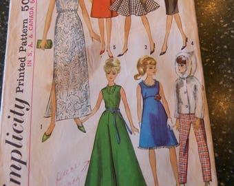 Vintage Simplicity Pattern 6208 Teen Fashion Doll 1965