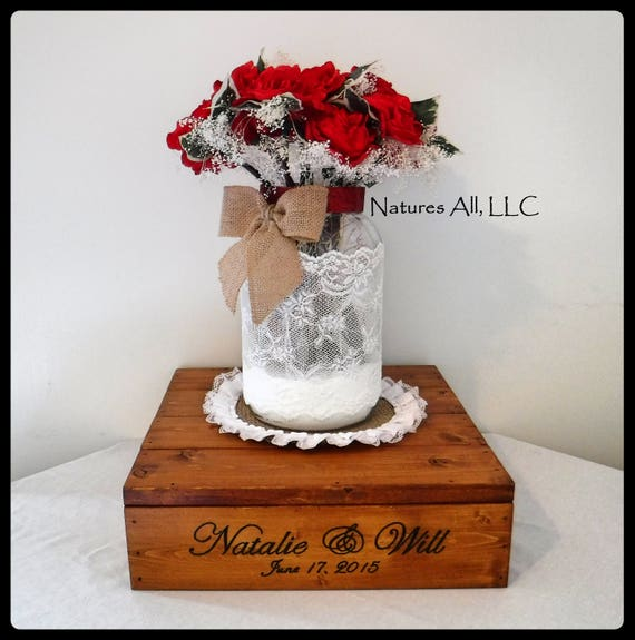 "14"" Rustic Wedding Cake Stand Or Centerpiece Box/Free Personalized/Country Wedding Cake Stand/Rustic Cake Stand/Stain Color- Provincial"