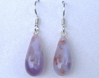 Purple Chalcedony Drop Earrings, Sterling Silver 18mm x 8 mm E-43