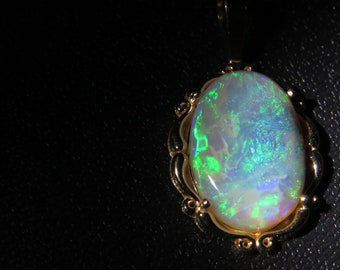 Australian Black Opal 14K Gold Pendant Solid Untreated Lightning Ridge Black Opal