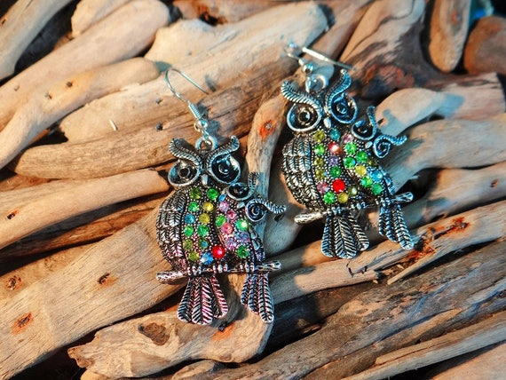 Wise Owl Rhinestone Silver Earrings Rhinestones Crystals Gems Bling Earring Pagan Wiccan Wicca Witch Harry Potter Magic Athena