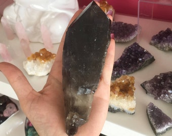Morion Quartz  Large RARE  Smoky Quartz Healing Crystals and Stones / Crystal Wand