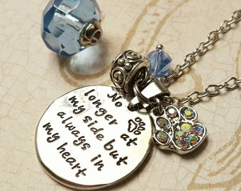 Pet Lovers Charm Necklace with Fillable Crystal | No Longer By My Side | Pet Urn Necklace | Pet Urn Jewelry | Pet Loss | Fillable Jewelry