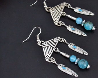 Long Boho Earrings, Bohemian Earrings, Blue Agate Earrings, Silver Earrings, Feather Earrings, Drop, Dangle Earrings (E25)